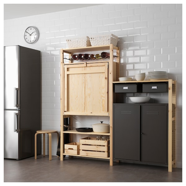 Tavolo Snack Ikea.2 Section Unit With Foldable Table Ivar Pine Gray