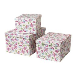 STUNSIG box with lid, set of 3, flamingo