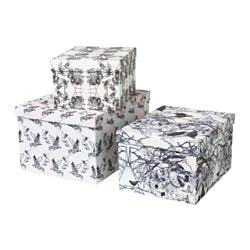 STUNSIG box with lid, set of 3, girl, wolf leopard