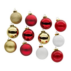 "VINTER 2017 ornament, glass, red gold Diameter: 2 "" Package quantity: 12 pack Diameter: 5 cm Package quantity: 12 pack"