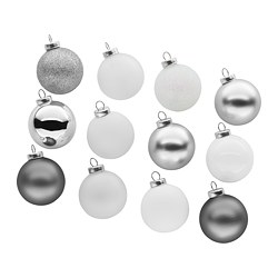 "VINTER 2017 ornament, glass, silver color white Diameter: 2 "" Package quantity: 12 pack Diameter: 5 cm Package quantity: 12 pack"