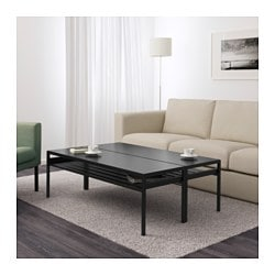 NYBODA coffee table w reversible table top, black/beige