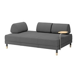 FLOTTEBO sofa-bed with side table, Lysed dark grey Width: 200 cm Depth: 120 cm Height: 55 cm