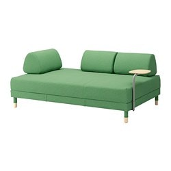 FLOTTEBO, Sofa-bed with side table, Lysed green