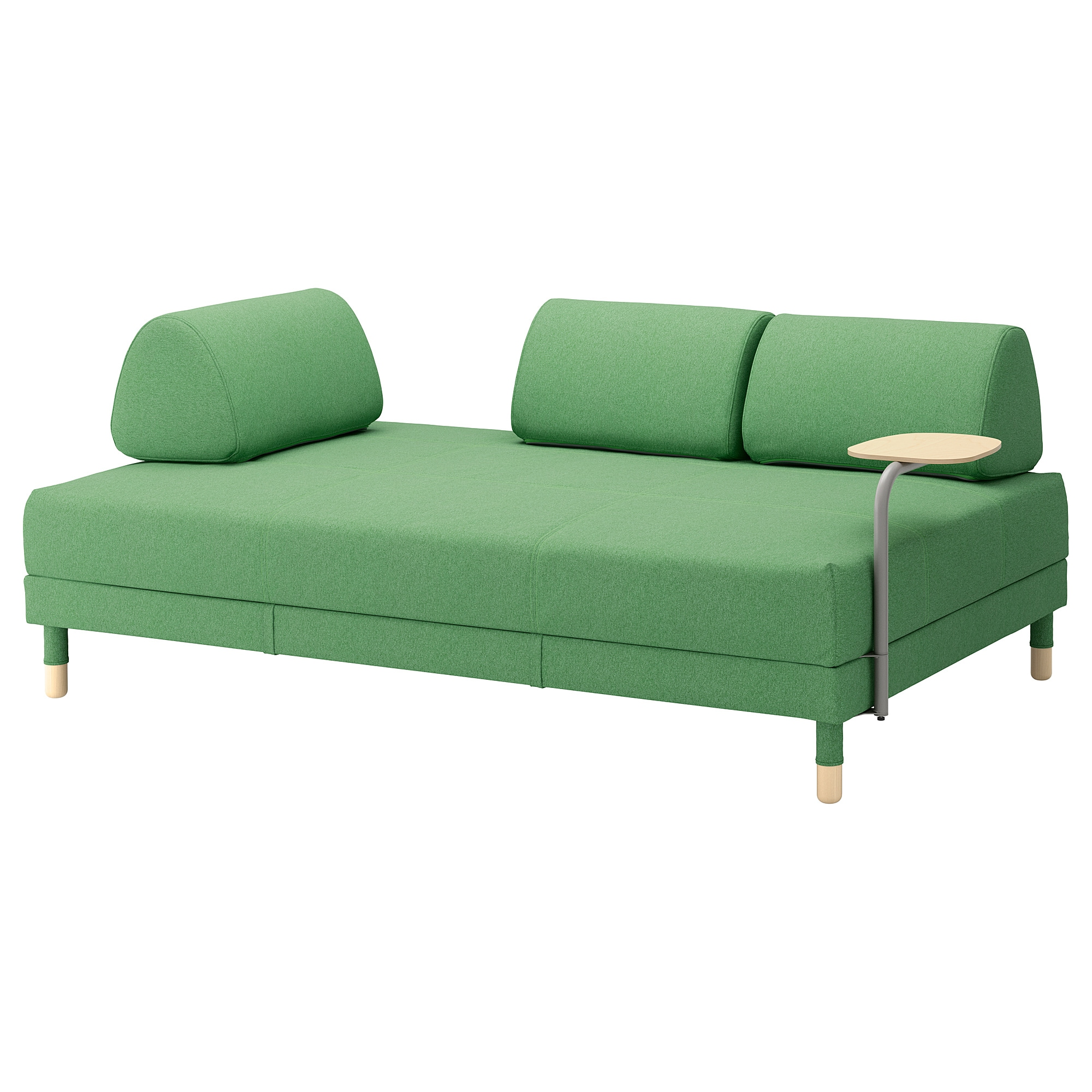 FLOTTEBO Sleeper Sofa With Side Table, Lysed Green