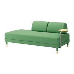 FLOTTEBO sofa-bed with side table, Lysed green