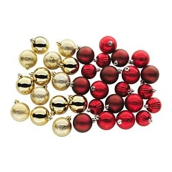 VINTER 2017 decorative ornament, set of 35, red, gold