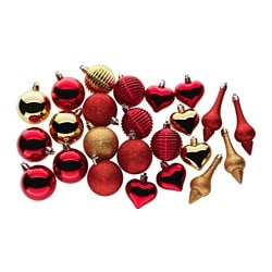 VINTER 2017 24-piece hanging ornament set, red, gold