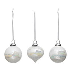 VINTER 2017 hanging ornaments, set of 3, glass, assorted models