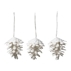 "VINTER 2017 hanging decoration, cone white Height: 2 ¾ "" Package quantity: 3 pack Height: 7 cm Package quantity: 3 pack"