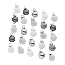 "VINTER 2017 ornament, glass, silver color white Diameter: ¾ "" Package quantity: 25 pack Diameter: 2 cm Package quantity: 25 pack"