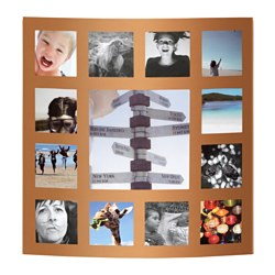 GUDBY collage frame for 13 photos, gold-colour Width: 43 cm Height: 43 cm