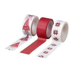 VINTER 2017 roll of tape, red, white Length: 5 m Width: 1.8 cm Package quantity: 3 pieces