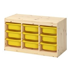 TROFAST, Storage combination with boxes, light white stained pine, yellow