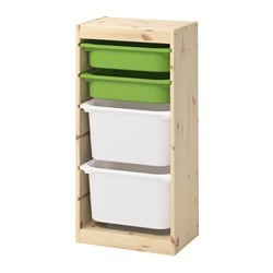 "TROFAST storage combination with boxes, light white stained pine green, white Width: 17 3/8 "" Depth: 11 3/4 "" Height: 35 7/8 "" Width: 44 cm Depth: 30 cm Height: 91 cm"