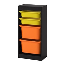 TROFAST storage combination with boxes, black, yellow orange
