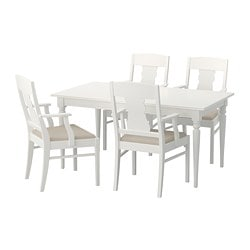 INGATORP /  INGATORP table and 4 chairs, white Length: 155 cm Max. length: 215 cm Width: 87 cm