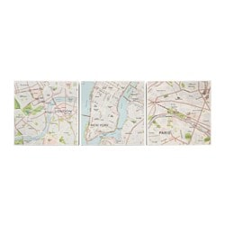 BJÖRNAMO picture, set of 3, city maps Width: 25 cm Height: 25 cm