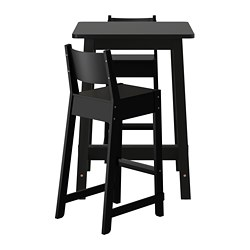 NORRÅKER /  NORRÅKER bar table and 2 bar stools, black, black