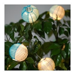 SOLVINDEN decoration for string light, globe gray, blue