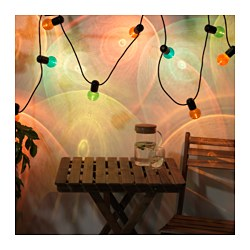 SOLVINDEN LED light chain with 12 lights, outdoor, multicolor