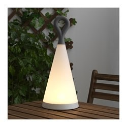 SOLVINDEN LED solar-powered table lamp, triangle, gray white