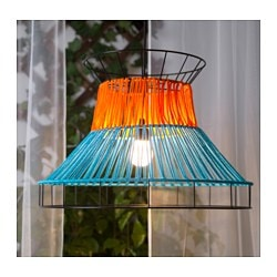 SOLVINDEN LED pendant lamp, orange, blue outdoor
