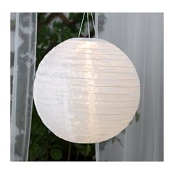 SOLVINDEN solar-powered pendant lamp, globe white