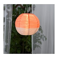 SOLVINDEN solar-powered pendant lamp, globe orange, beige