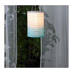 SOLVINDEN solar-powered pendant lamp, tube-shaped gray, turquoise