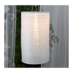 SOLVINDEN solar-powered pendant lamp, tube-shaped white