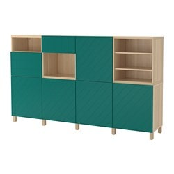 BESTÅ storage combination w doors/drawers, white stained oak effect, Hallstavik blue-green