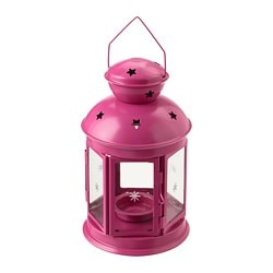 ROTERA lantern for tealight, in/outdoor pink