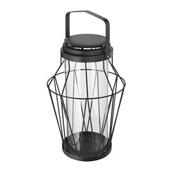 SOMMAR 2018 lantern f block candle, in/outdoor, black