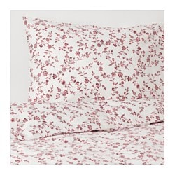 HÄSSLEKLOCKA quilt cover and 4 pillowcases, white, pink