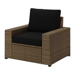 SOLLERÖN armchair, outdoor, brown, Kungsö black