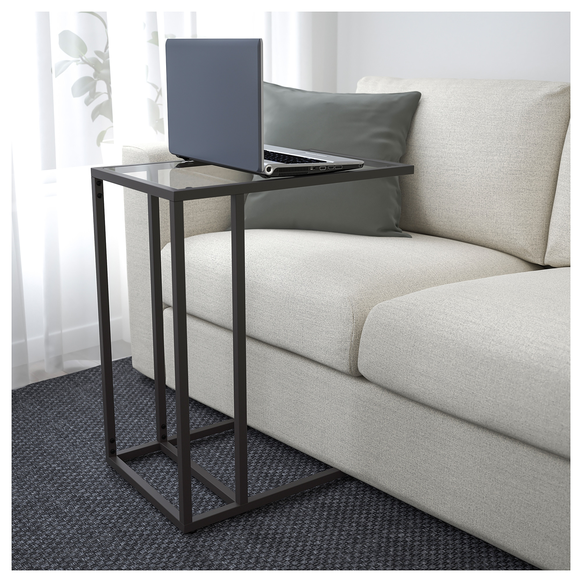 VITTSJ– Laptop stand black brown glass IKEA