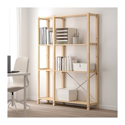 IVAR, 2 section shelving unit, pine