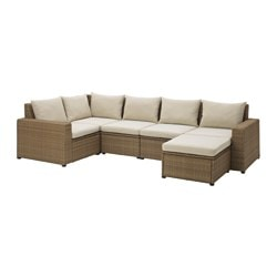SOLLERÖN 5-seat sectional + stool, outdoor, brown, Hållö beige