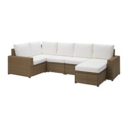 SOLLERÖN corner sofa 4+1 w stool, outdoor, brown, Kungsö white
