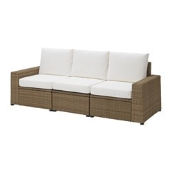 SOLLERÖN 3-seat sofa, outdoor, brown, Kungsö white