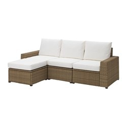 SOLLERÖN 3-seat sofa with footstool, outdoor, brown, Kungsö white