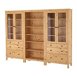 HEMNES storage combination w doors/drawers, light brown Width: 270 cm Depth: 37 cm Height: 198 cm