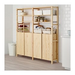 IVAR, 2 section shelving unit w/cabinet, pine
