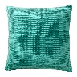 SÖTHOLMEN cushion cover, indoor/outdoor, turquoise