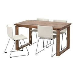 MÖRBYLÅNGA /  BERNHARD table and 4 chairs, brown, Mjuk white Length: 140 cm Width: 85 cm Height: 74 cm