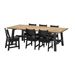 "SKOGSTA /  NORRÅKER table and 6 chairs, acacia, black Length: 92 1/2 "" Width: 39 3/8 "" Height: 29 1/8 "" Length: 235 cm Width: 100 cm Height: 74 cm"