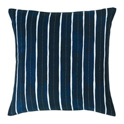 INNEHÅLLSRIK cushion cover, handmade blue, white