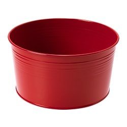 SOCKER plant pot, in/outdoor, red Height: 10 cm Diameter: 20 cm