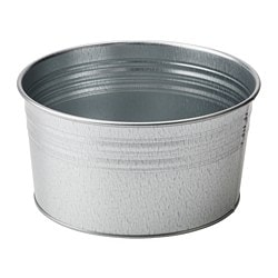 SOCKER plant pot, in/outdoor, galvanised Height: 10 cm Diameter: 20 cm